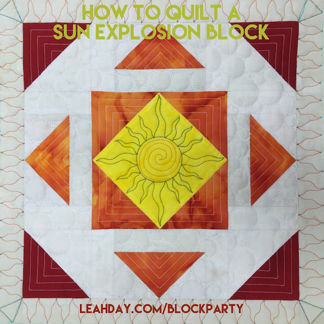 Learn how to machine quilt a Sun Explosion Block