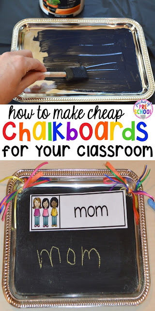 DIY student chalkboards using trays from the Dollar Tree. Perfect for the writing or word work center. Preschool, pre-k, and all elementary grade students would LOVE these.