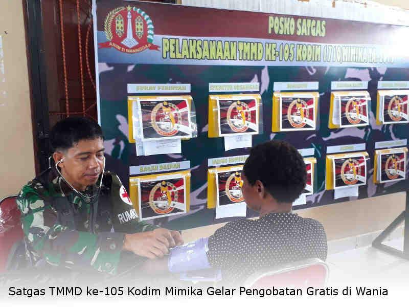 Satgas TMMD ke-105 Kodim Mimika Gelar Pengobatan Gratis di Wania