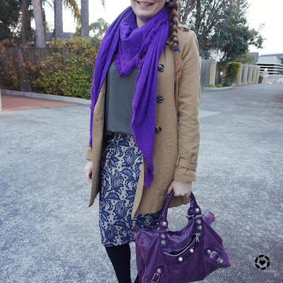 awayfromblue instagram | trench coat, lace pencil skirt and plain tee for office with purple scarf and Balenciaga work bag