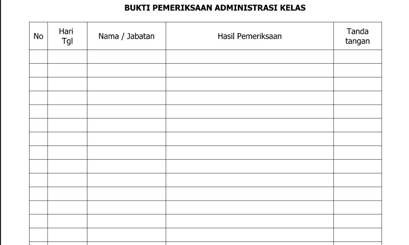 Download Contoh Format Bukti Pemeriksaan Administrasi Kelas untukAdministrasi Guru SD/MI-SMP/MTs-SMA/SMK/MA
