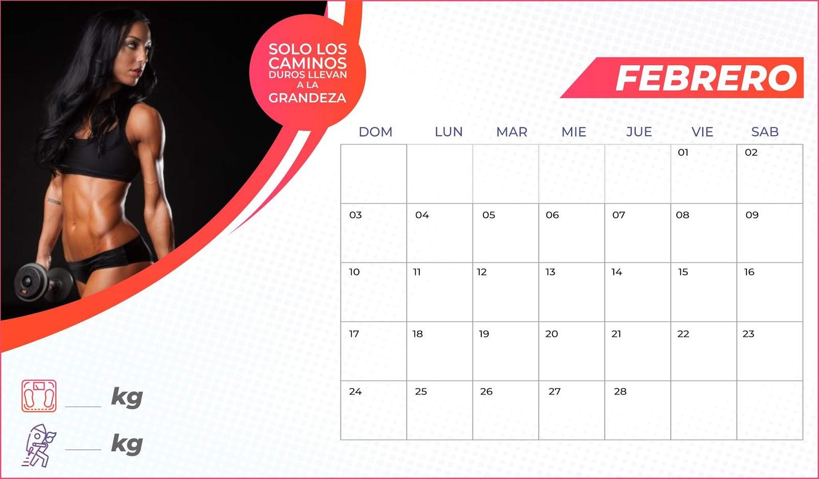 Calendario Fitness 2019.Calendario Fitness Mujer 8 5x14