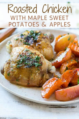 Roasted Chicken Thighs with Maple Sweet Potatoes