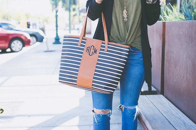 Marley Lilly monogrammed tote and cardigan for Fall
