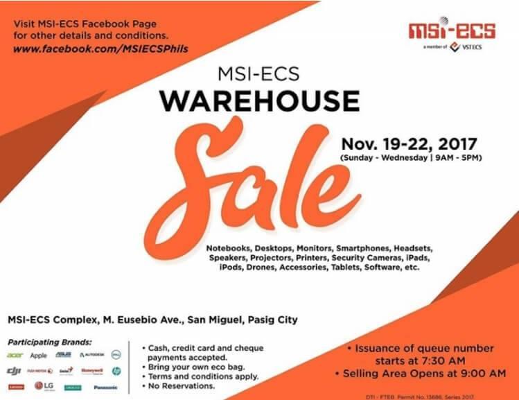 MSI-ECS Holds Warehouse Sale 2017 until November 22
