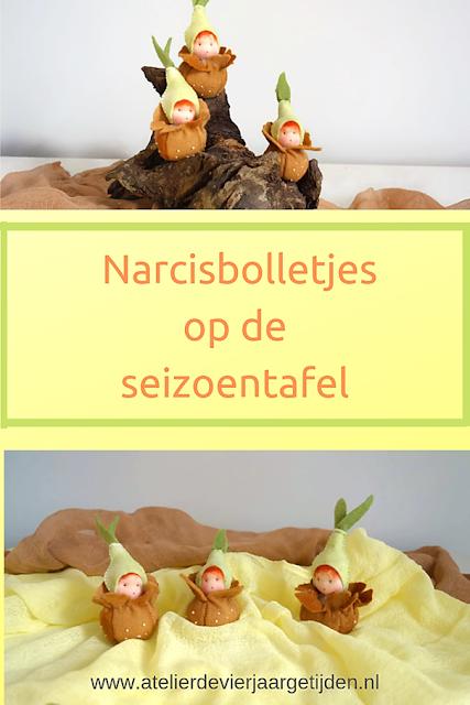 Narcis bolletjes van vilt gemaakt voor op de seizoentafel