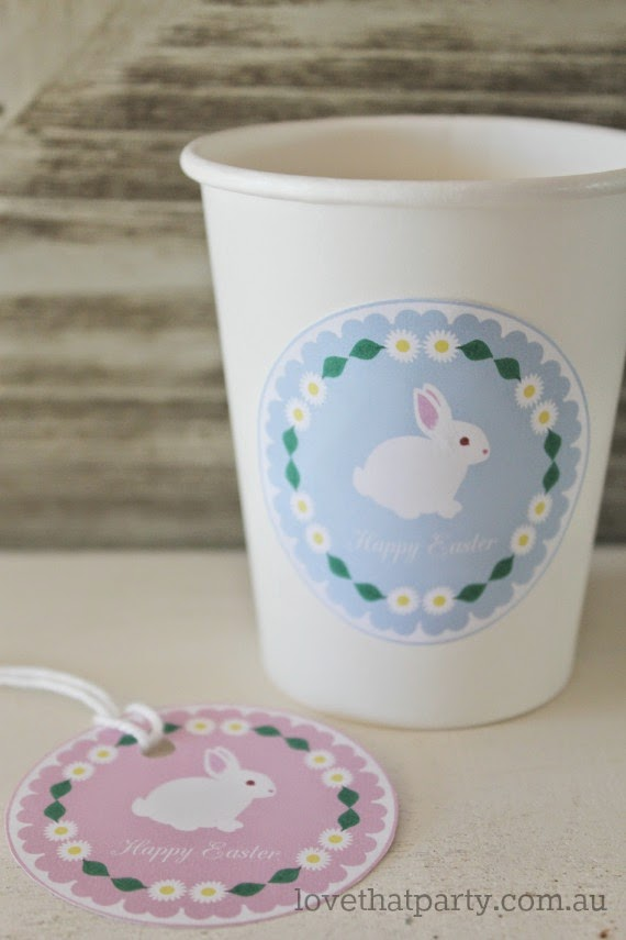 image of bunny rabbit gift tags and cup labels with daisies in pastel pink and blue