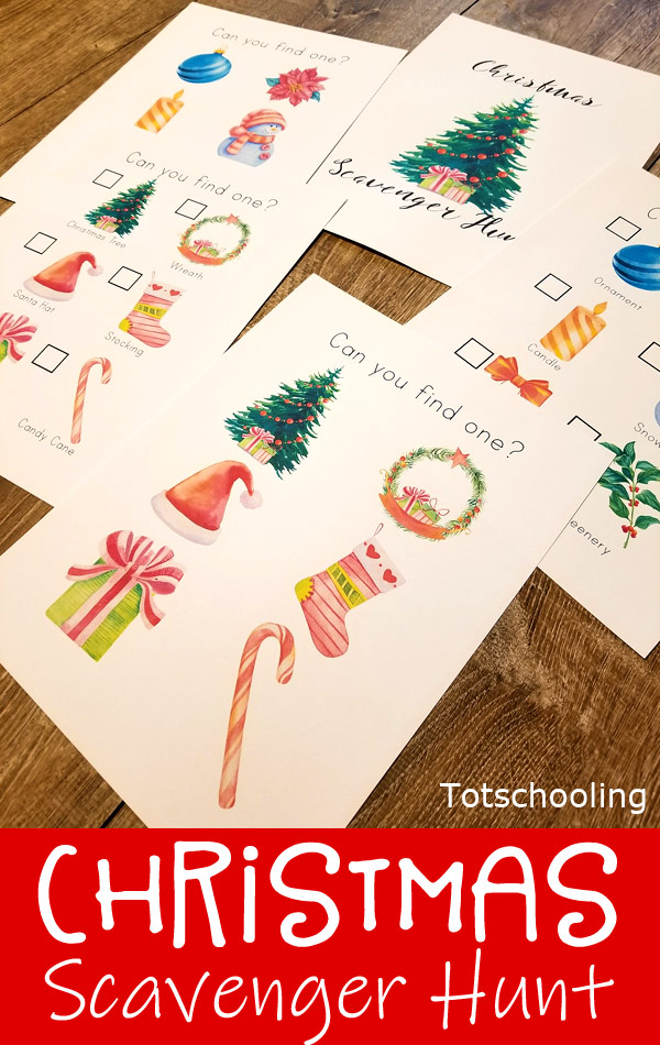 FREE printable Christmas activity for toddlers and preschoolers. Enjoy a fun indoor or outdoor scavenger hunt with Holiday themed objects to find. Perfect Christmas activity for the whole family!