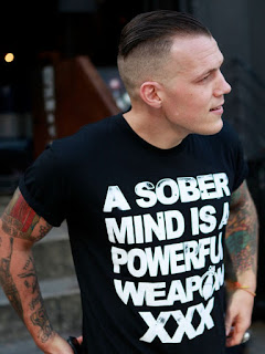 A Sober Mind Is A Powerful Weapon XXX Straight Edge worn by Richie Hardcore. PYGOD.COM
