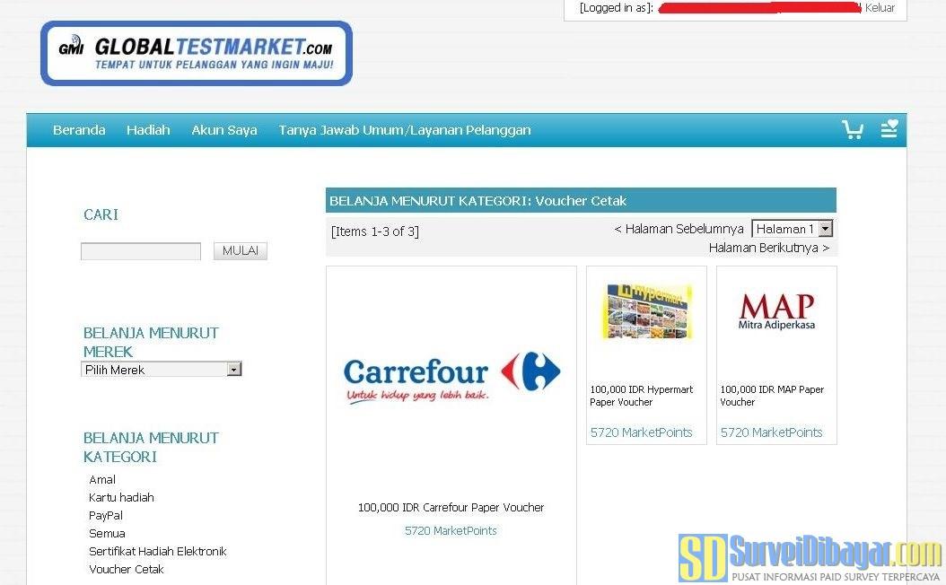 Format Hadiah Dan marketpoint Terbaru Dari GlobalTestMarket