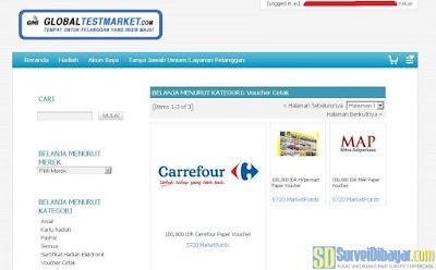 Menu penukaran hadiah Voucher Cetak di situs GlobalTestMarket | SurveiDibayar.com