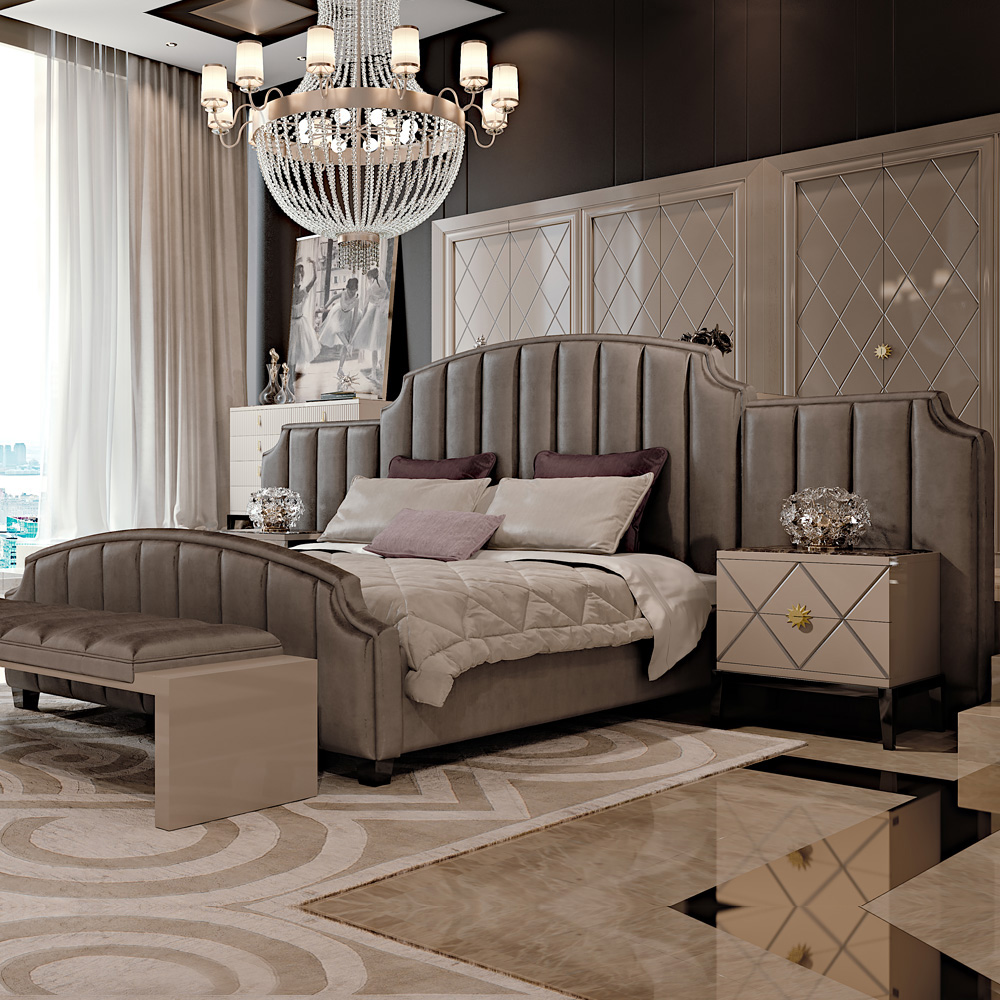 The most popular type of headboard for the Art Deco bedroom is the padded  vertical columns style.