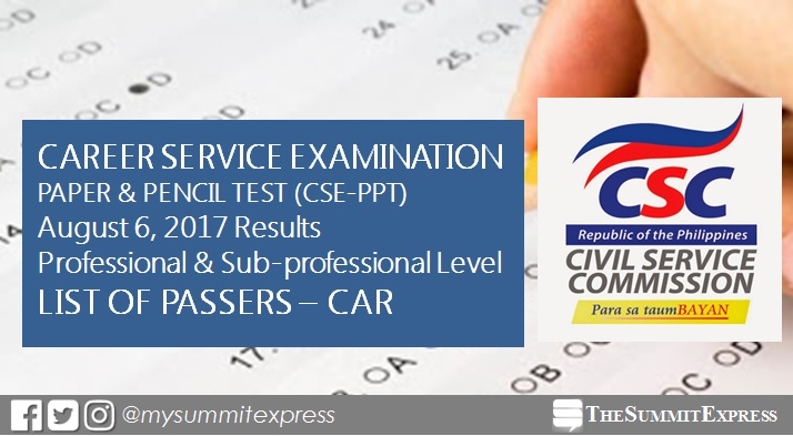 CAR Passers: August 2017 Civil Service Exam results CSE-PPT