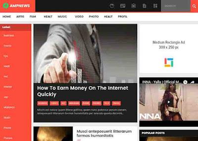 AMP NEWS Theme For Blogger