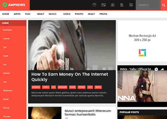 AMP news Blogger Template free download