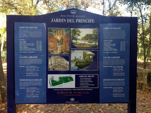 cartel informativo de los jardines del príncipe de aranjuez