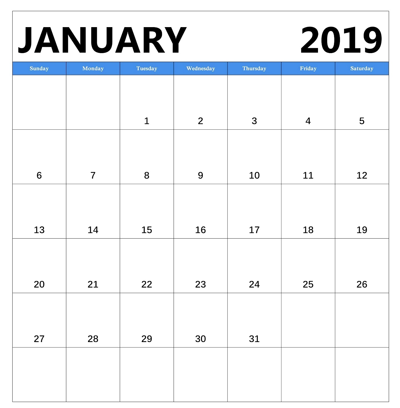 January 2019 Free Download Calendar Pdf Excel Word