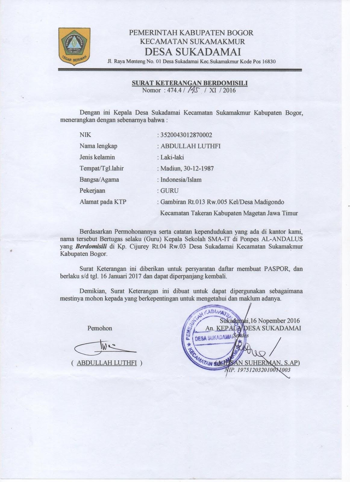 Contoh Surat Keterangan Domisili Lembaga Paud Audit Kinerja