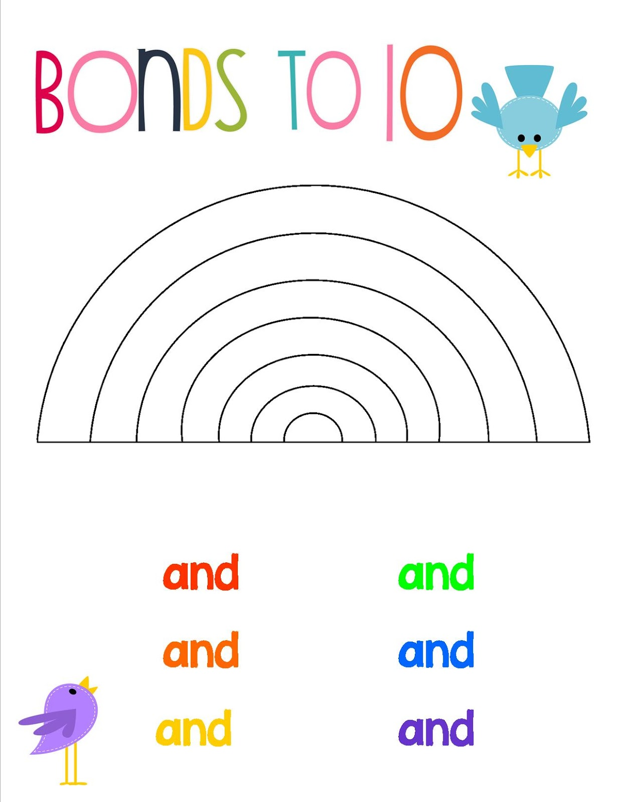 Rainbow Number Bond Free Worksheet Rainbow To Ten Display