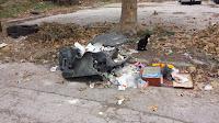 Waste, Disposal, Plastic Wheelie Bin, Melted Down,
