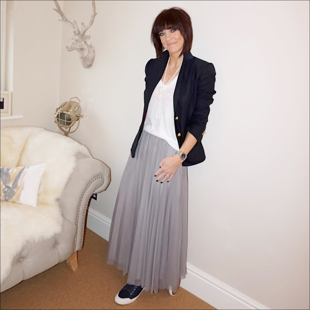 My Midlife fashion, j crew rhodes blazer, j crew vintage v neck tee, single long length fresh water pearls, marks and spencer tulle maxi skirt, j crew tretorn canvas sneakers