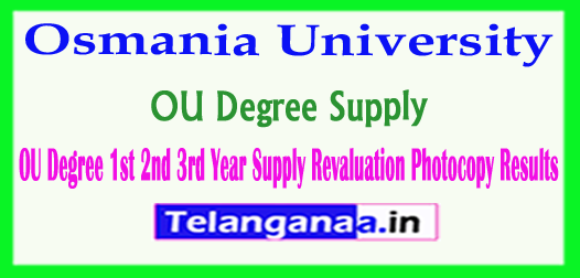 OU Degree 1st 2nd 3rd Year Supply Revaluation Photocopy Results 2018
