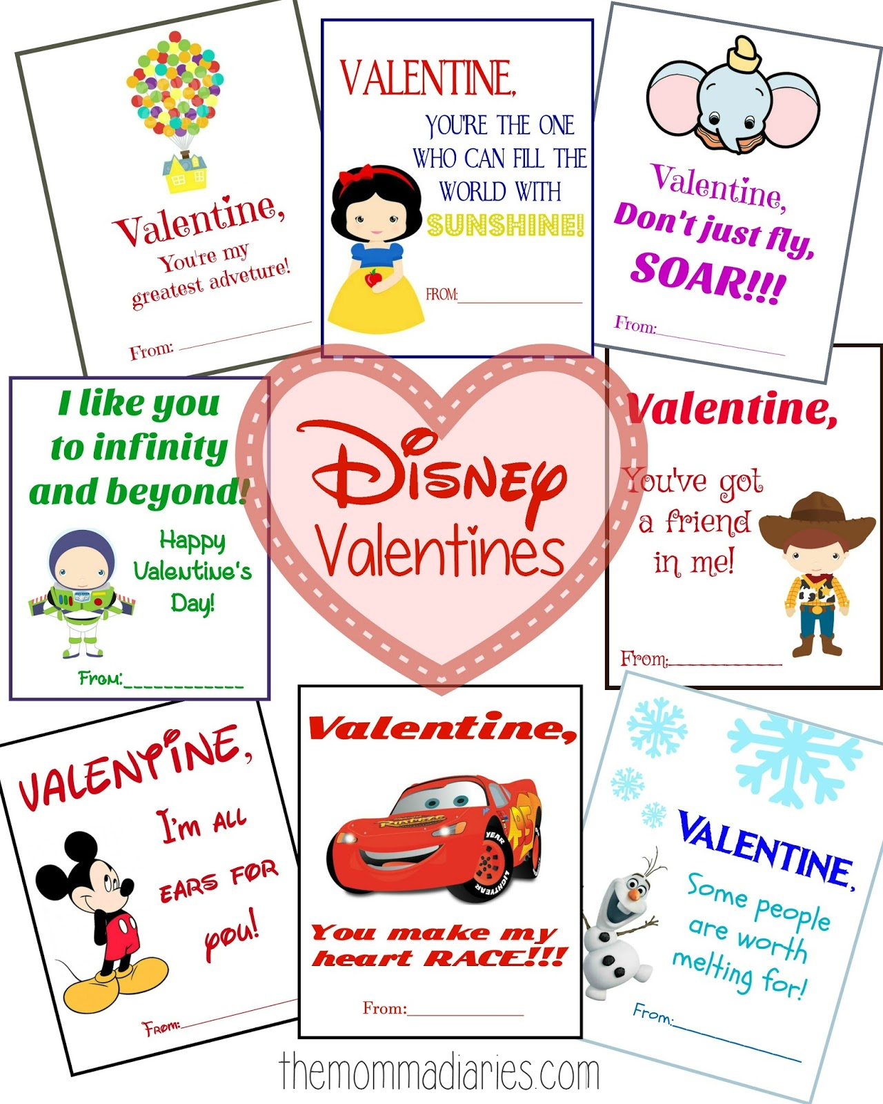 graphic regarding Printable Valentines Pictures referred to as Printable Disney Valentines - The Momma Diaries