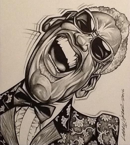 Caricatura de Ray Charles por Larry Weber