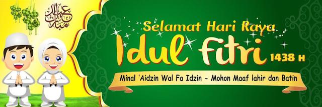 Contoh Spanduk, Banner ucapan Idul Fitri 2018 warna Kuning Hijau
