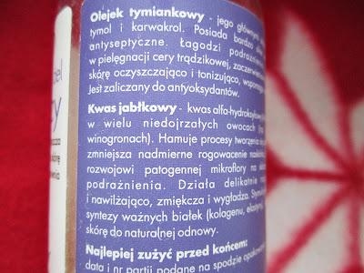 olej tymiankowy, kwas jabłkowy