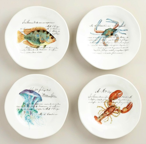 Nautical Sea Life Plates with Watercolor Art Work