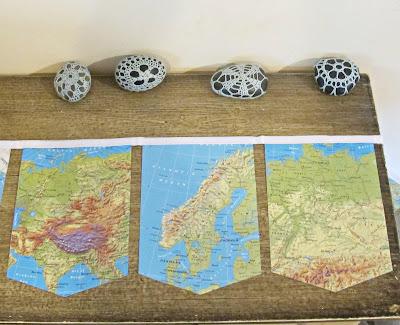 image map bunting atlas vintage domum vindemia bon voyage travel geography
