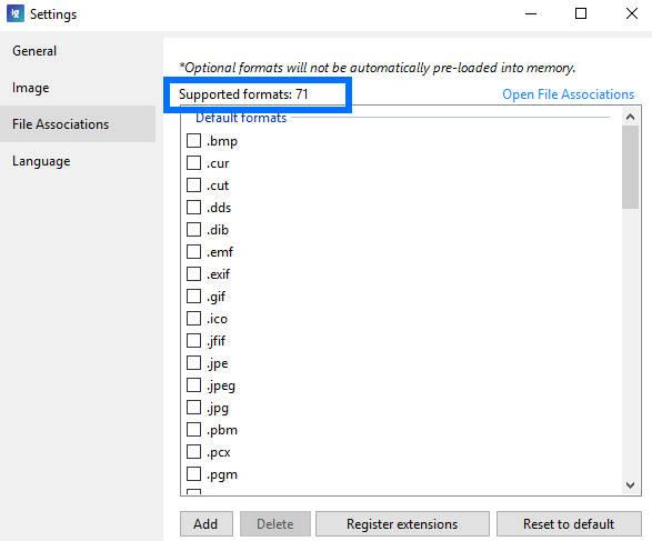 Asosiasi format file di ImageGlass