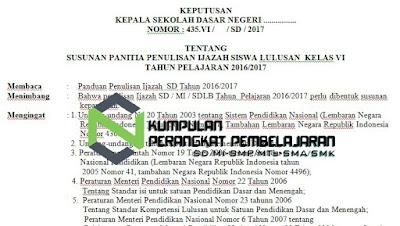Contoh SK Panitia Penulisan Ijazah Sekolah Tahun 2017
