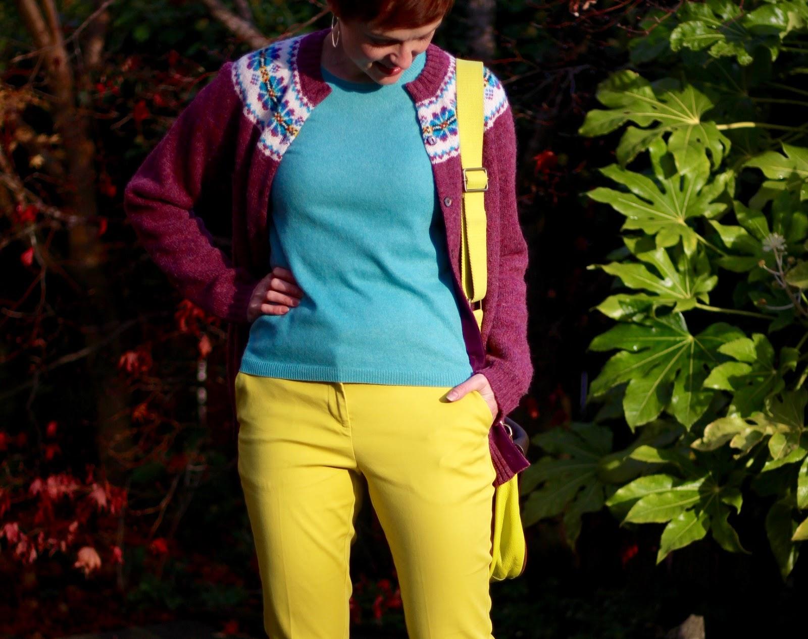 Vintage Fair Isle Cardigan & Yellow Trousers | Fake Fabulous