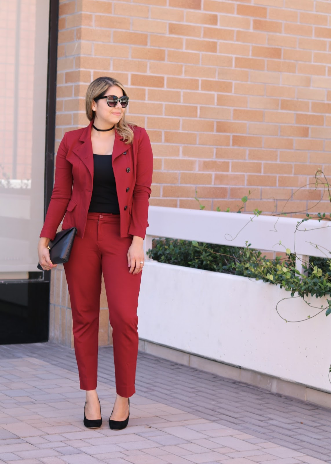 fall 2016 fashion, san diego fashion blogger, san diego fall fashion, san diego style blogger, black choker and burgundy suit