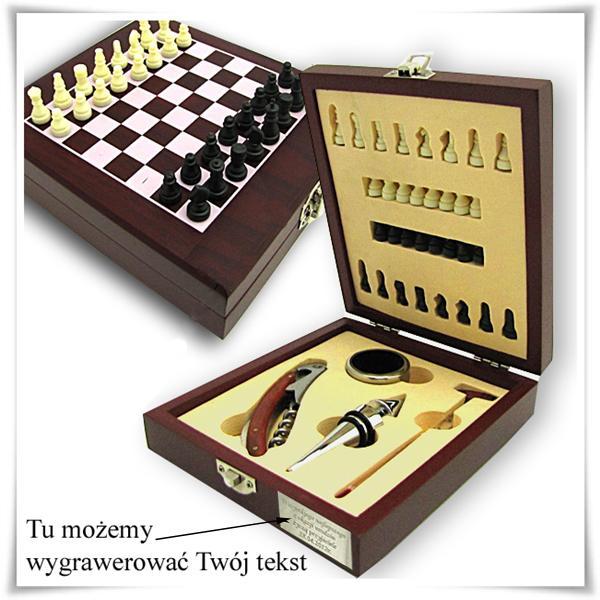 Nowość Zestaw: gra szachy i akcesoria do wina z grawerem - Trafiony prezent JJ33
