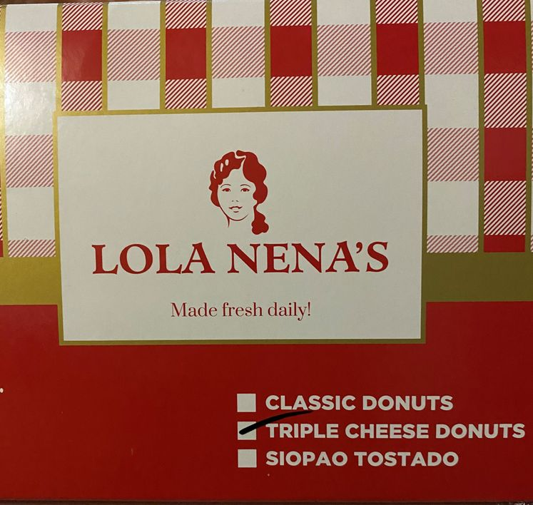 Box of Lola Nena's old fashioned triple cheese filled donut