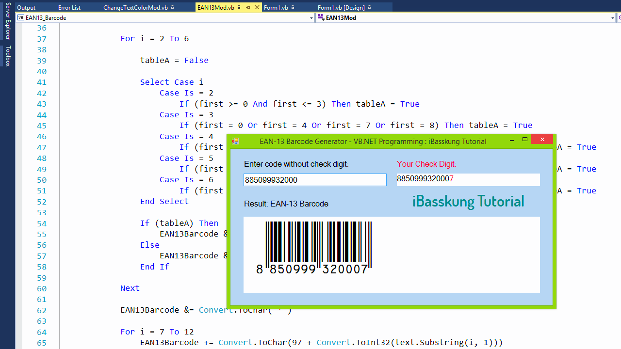 Visual Basic  Net Programming How to Create EAN-13 Barcode