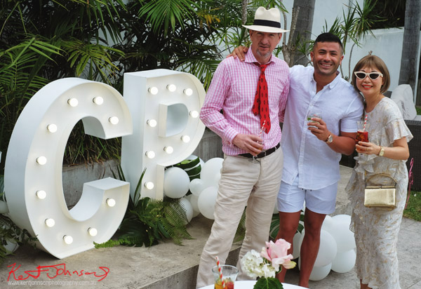 Kent Johnson with Christian Paul CEO Zaid Alsulaibi and Vivienne Shui - Havana Days pool party Launch Event - Photographed for Street Fashion Sydney