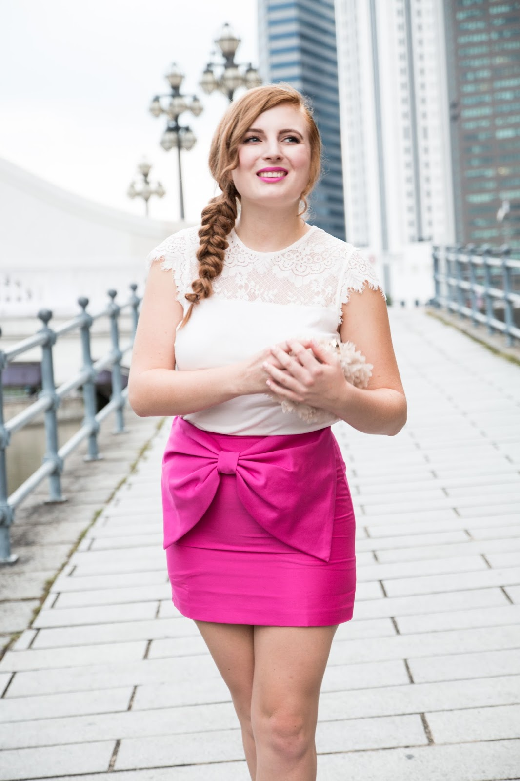 Global Fashion Gal - Hot Pink Bow Skirt for Valentine's Day