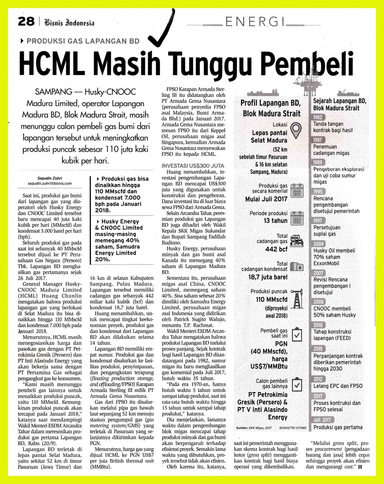 HCML Still Waiting for Buyers - MEDIA MONITORING OIL AND GAS