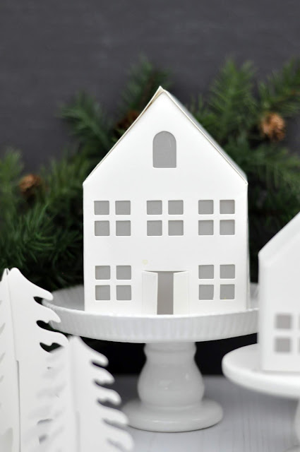 "Heidi Swapp ""Home for the Holidays"" paper houses. Winter Village by www.jengallacher.com. #paperhouse #wintervillage #christmascraft #jengallacher #heidiswapp"