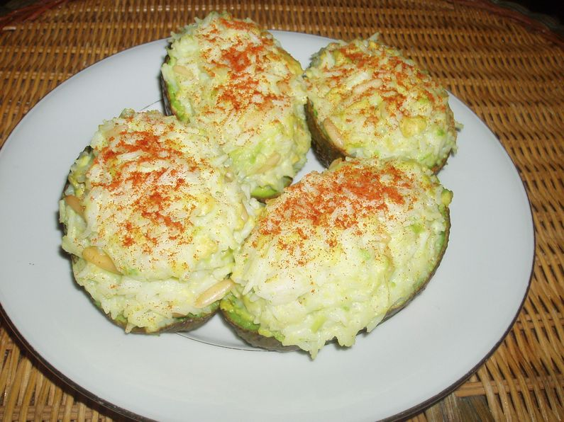 Adventures In Flavorland Stuffed Baked Avocados With Rice Cream And Pine Nuts Middle Eastern