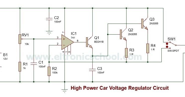 Gps Car Tracker >> Circuit Schematic 100 Watts Car Power Supply using LM741 ...