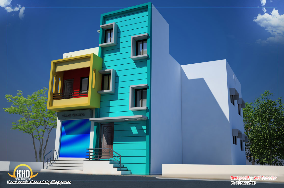 House with shop elevation - 2600 Sq. Ft. - Kerala home ...