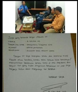 Foto surat permintaan maaf yang ditandatangani oleh seseorang bernama A Salam HD, mengaku sebagai anggota DPRD Propinsi Jambi. Ia mengaku bersalah dan meminta maaf kepada pihak bandara.
