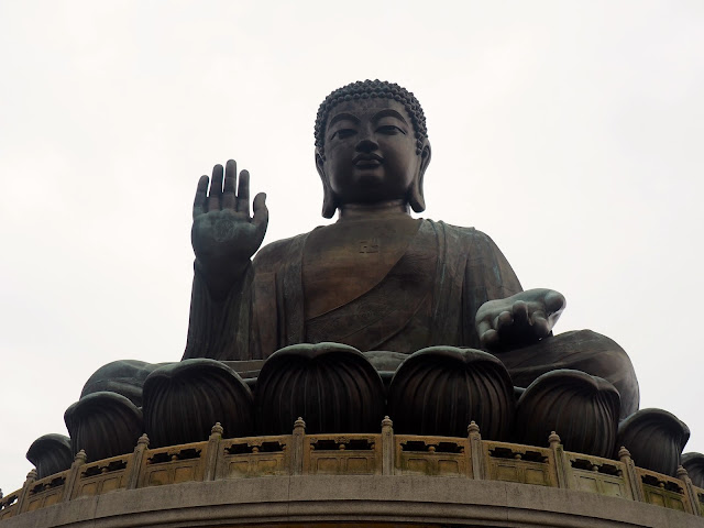 Close up view of the Big Buddha / Tian Tan Buddha, Ngong Ping, Lantau Island, Hong Kong