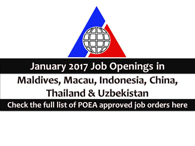 The following are jobs approved by POEA for deployment to Maldives, Macau, Indonesia, China, Thailand, Vietnam and Uzbekistan. Job applicants may contact the recruitment agency assigned to inquire for further information or to apply online for the job.  We are not affiliated to any of these recruitment agencies.   As per POEA, there should be no placement fee for domestic workers and seafarers. For jobs that are not exempted on placement fee, the placement fee should not exceed the one month equivalent of salary offered for the job. We encourage job applicant to report to POEA any violation on this rule.