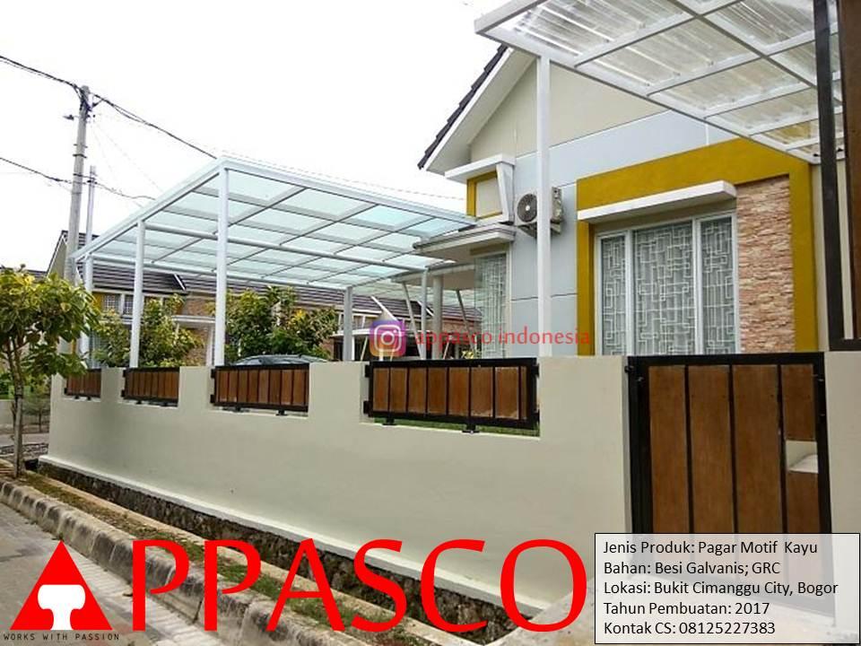 Jasa pembuatan pagar minimalis motif kayu GRC di Cimanggu City – Bogor